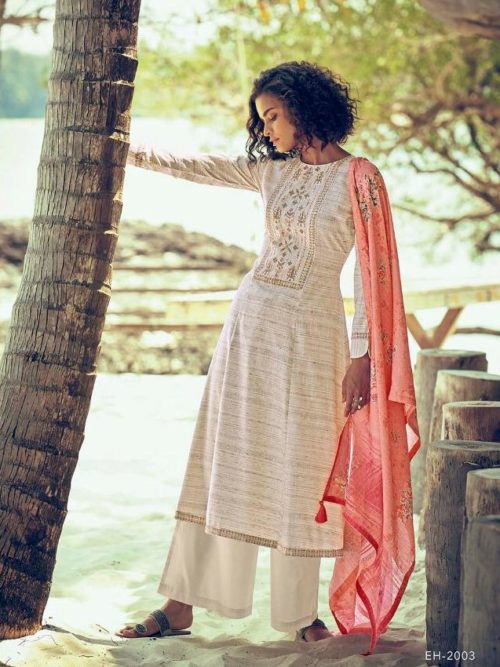 White Fine Cotton Khadar With Embroidery Suit