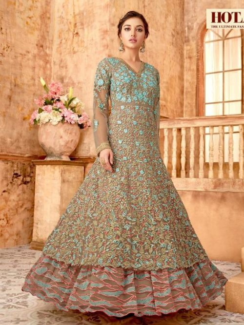 Net With Embroidery Party Wear Dress