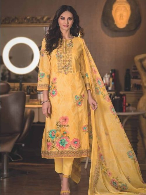 Pure Cotton With Heavy Designer Embroidery Suit