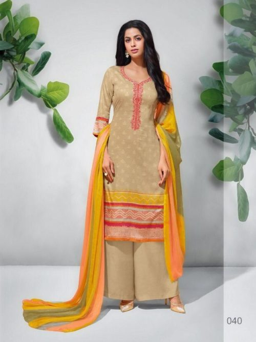 Pure Jam Silk Print With Embroidery Suit