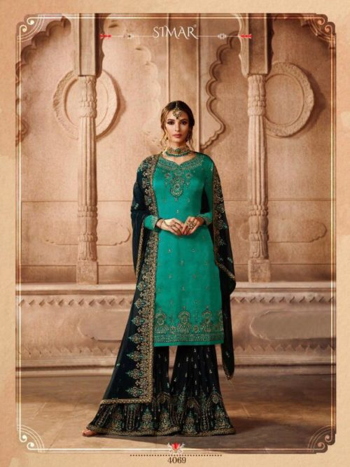 Satin Georgette Embroidery With Swarovski Work Sharara Suit