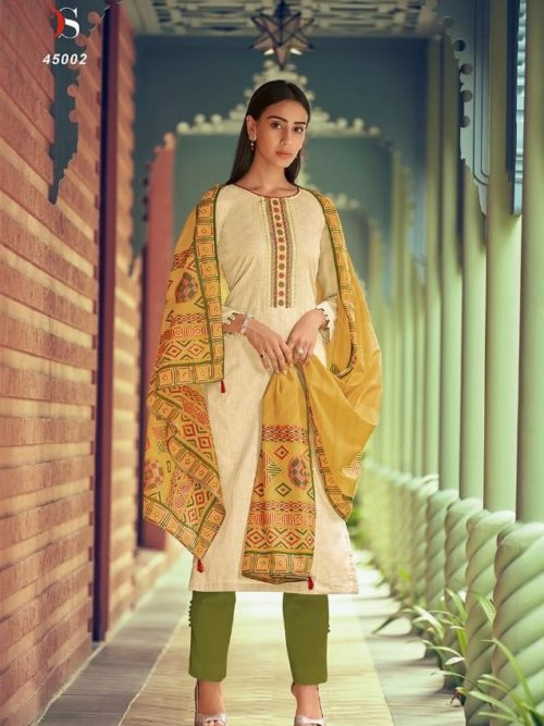 Jam Silk Cotton Print With Heavy Embroidery Suit