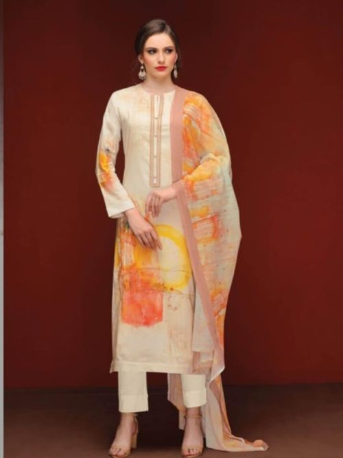Cotton Lawn Digital Print With Embroidery Suit