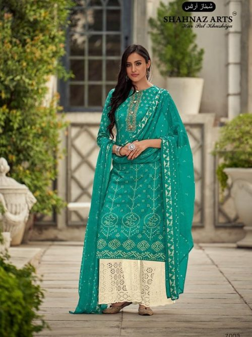 Cotton Bandhni Print With Embroidery Suit