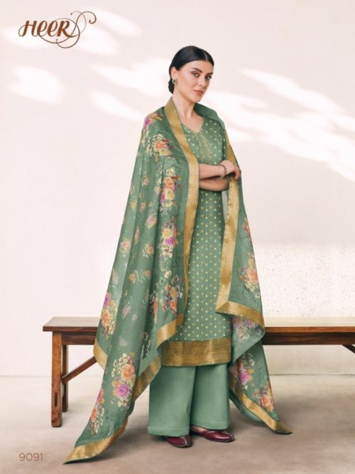 Cotton Silk Jacquard With Digital Print Suit