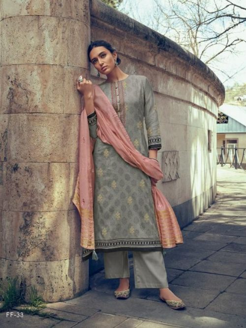 Cotton Printed With Foil And Embroidery Suit