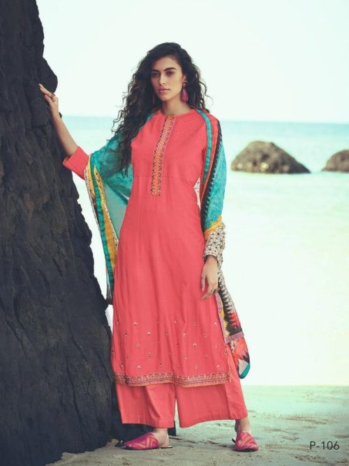 Mulberry Silk With Embroidery Suit
