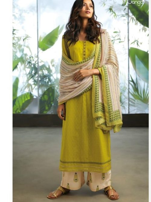 Cotton Jacquard Solid With Embroidery Suit