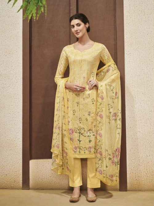 Fine Cotton Satin With Cross Stitch Self Embroidery Suit