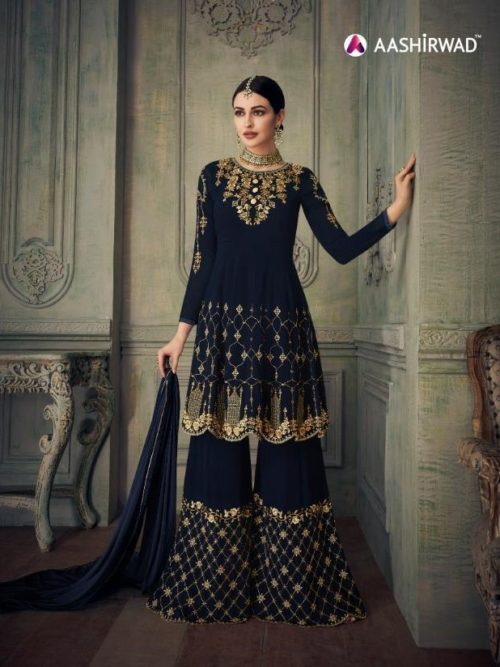 Embroidered Sharara in Blue