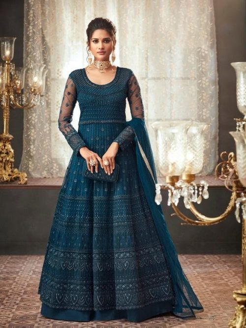 Net Embroidered Party Wear Dress In Dark Blue