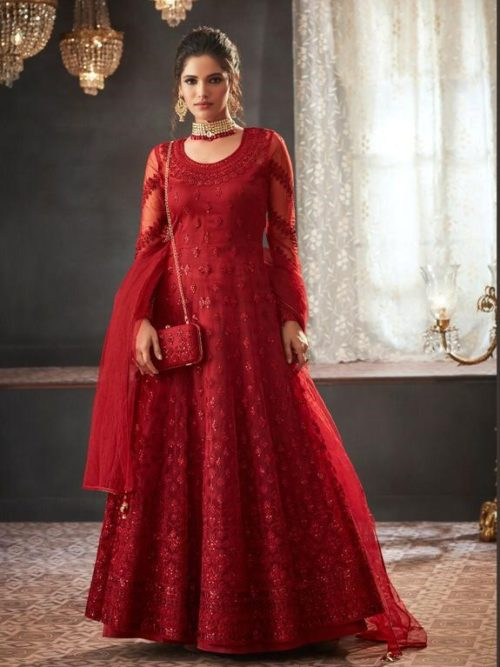 Net Embroidered Party Wear Dress In Red