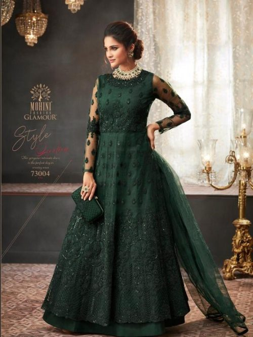 Net Embroidered Party Wear Dress In Dark Green