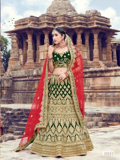 Velvet With Embroidery Lehenga Choli In Green