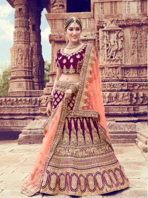 Velvet With Embroidery Lehenga Choli In Wine