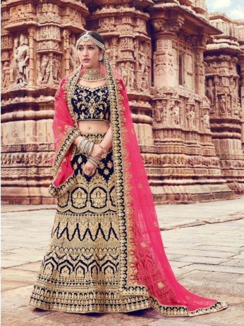 Velvet With Embroidery Lehenga Choli In Navy Blue