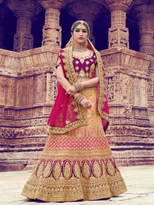 Nylon Satin With Embroidery Lehenga Choli In Peach & Wine