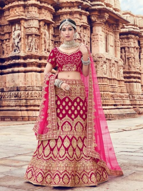 Velvet With Embroidery Lehenga Choli In Fuchsia Pink