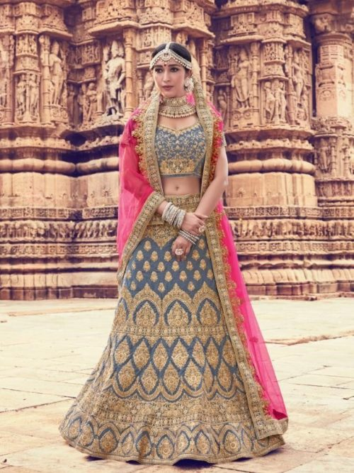 Velvet With Embroidery Lehenga Choli In Grey