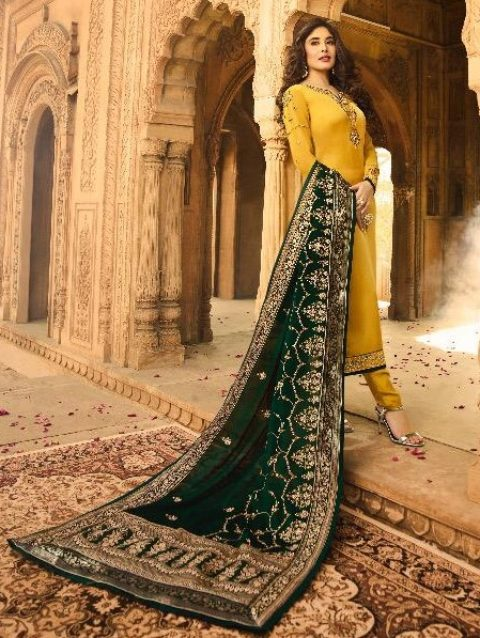 Georgette Salwar Kameez in Yellow