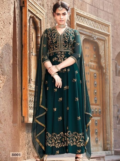 Faux Georgette With Work Indo Western Anarkali D.No 8001
