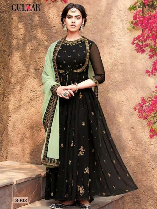 Faux Georgette With Work Indo Western Anarkali D.No 8003