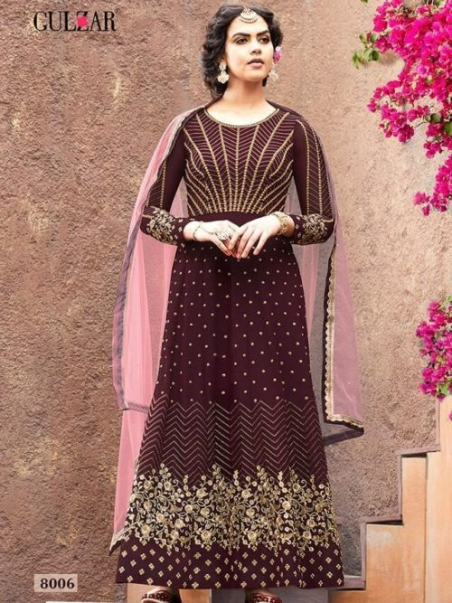 Faux Georgette With Work Indo Western Anarkali D.No 8006