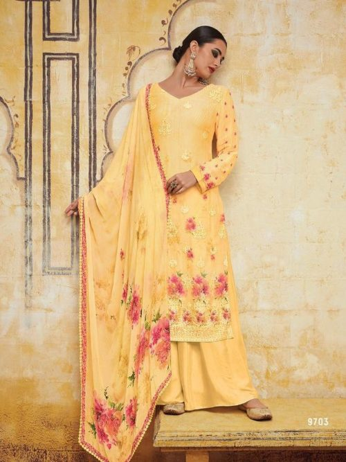 Kimora Heer Vol 54 Georgette With Embroidery Suit D.No 9703