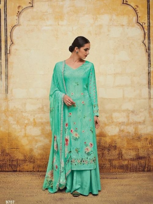 Kimora Heer Vol 54 Georgette With Embroidery Suit D.No 9707