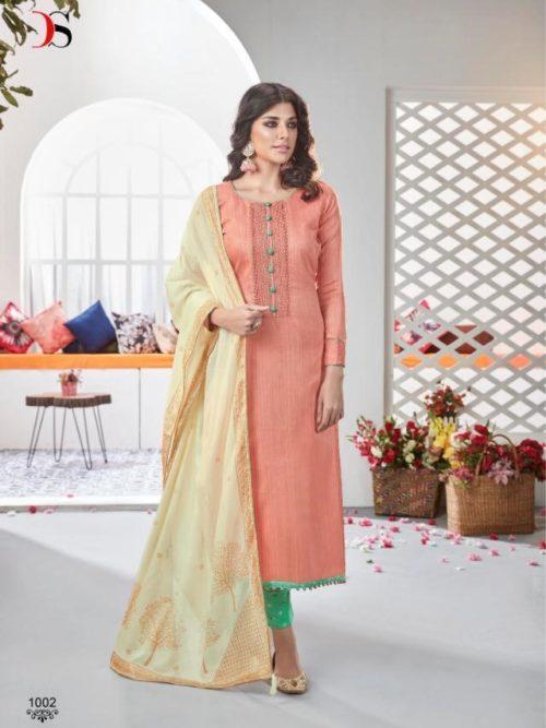 Deepsy Fairytale 2 Pure Jam Silk Cotton Print With Heavy Self Embroidery Salwar Suit 1002