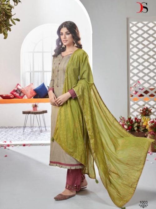 Deepsy Suits Presents Fairytale 2 Pure Jam Silk Cotton Print With Heavy Self Embroidery Salwar Suit 1003