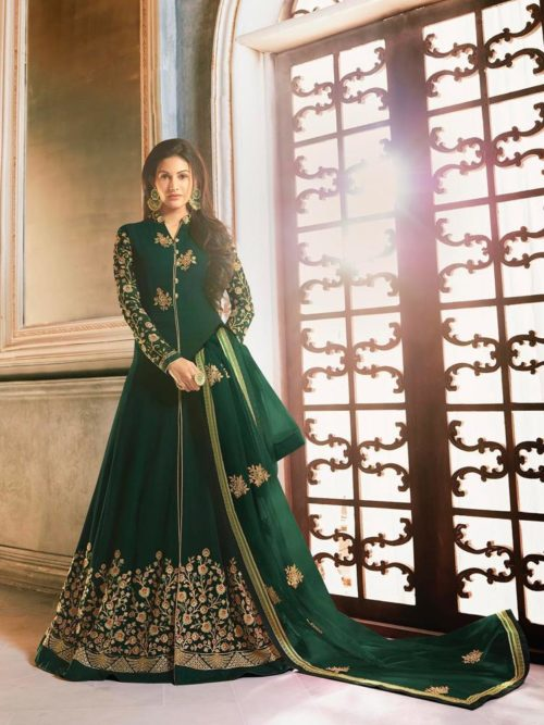 Georgette With Embroidery Gown Style Salwar Suit D.No 9058