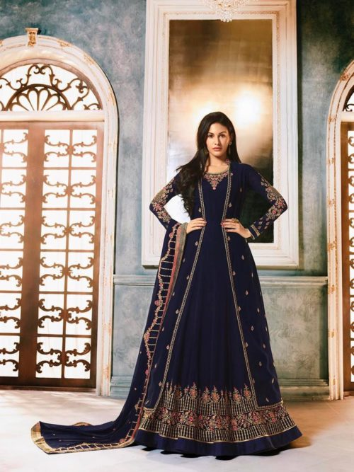 Georgette With Embroidery Gown Style Salwar Suit D.No 9056