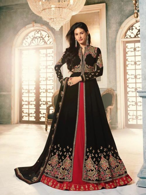 Georgette With Embroidery Gown Style Salwar Suit D.No 9062