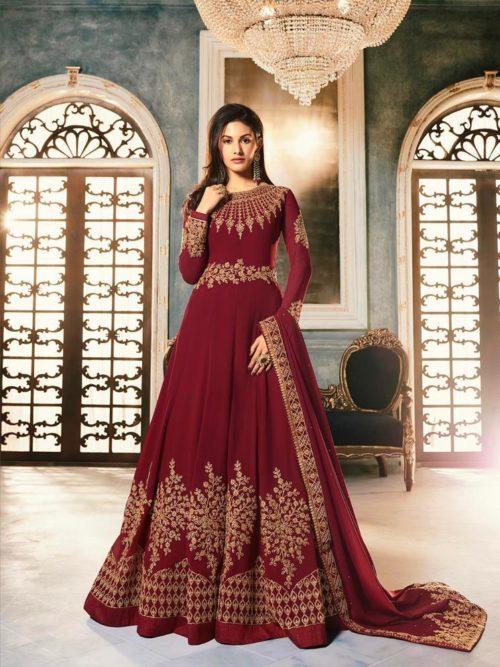 Georgette Swarovski Work Gown Style Salwar Suit D.No 9054
