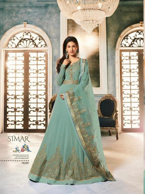 Georgette With Embroidery Gown Style Salwar Suit D.No 9055