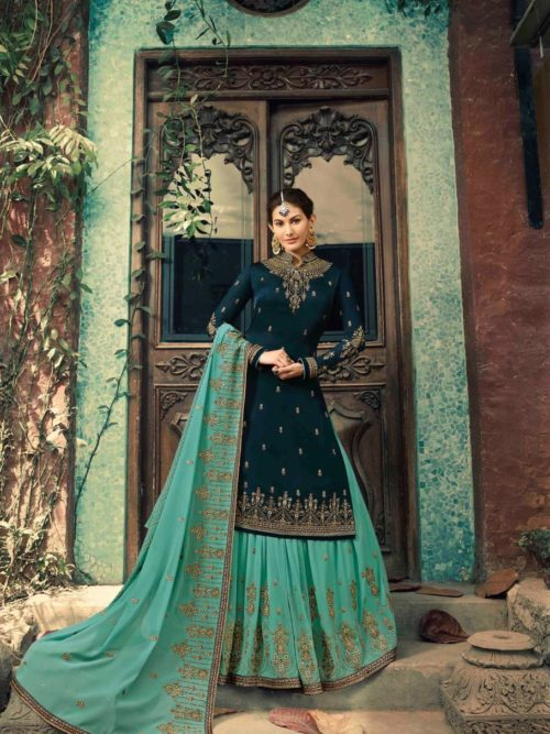 Glossy-Neisha-Satin-Georgette-Party-Wear-5040-5047-Series-Sharara-Style-Suit-3