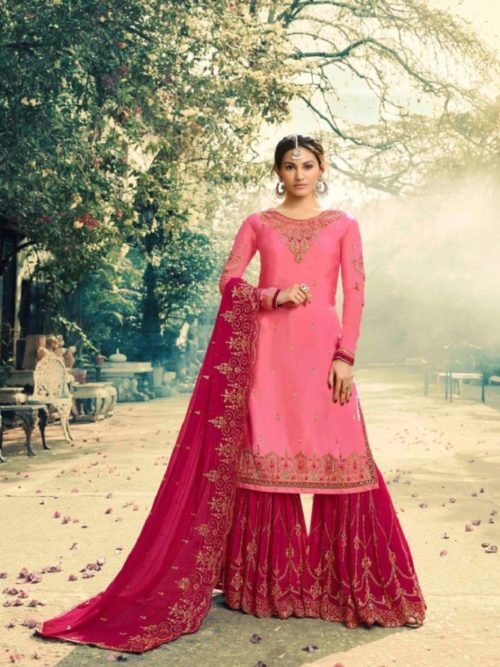 Glossy-Neisha-Satin-Georgette-With-Self-Embroidery-and-Work-Sharara-Suits-5043-764×1024