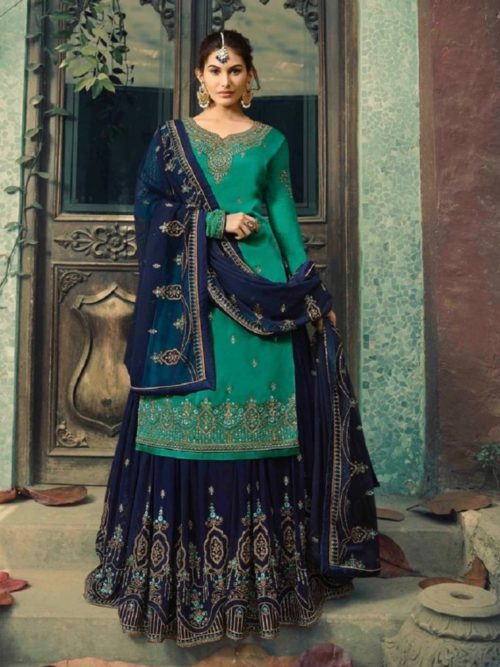 Glossy-Neisha-Satin-Georgette-With-Self-Embroidery-and-Work-Sharara-Suits-5044-764×1024