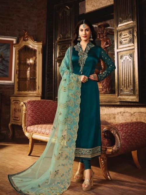Glossy-Simar-Lajja-Satin-Georgette-With-Embroidery-and-Sarwoski-Work-Partywear-Churidar-Suit-1873-712×1024