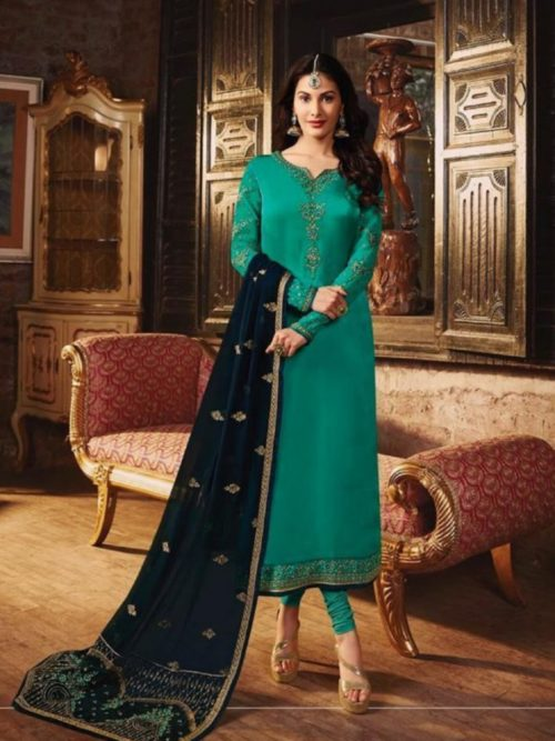 Glossy-Simar-Lajja-Satin-Georgette-With-Embroidery-and-Sarwoski-Work-Partywear-Churidar-Suit-1878-708×1024