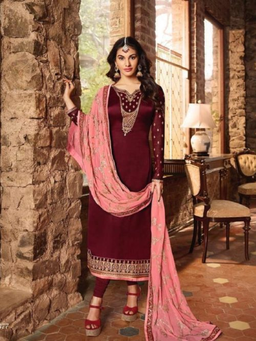 Glossy-Simar-Lajja-Satin-Georgette-With-Embroidery-and-Sarwoski-Work-Partywear-Churidar-Suits-1877-708×1024