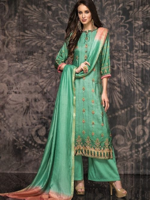 Tacfab-Presents-Naariti-Nabiha-Green-Silk-Digital-Print-With-Handwork-Salwar-Suit-2324