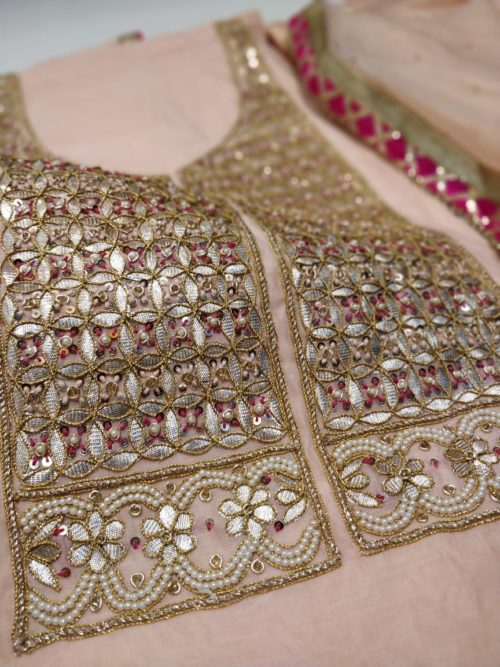 Embroidered Chanderi Salwar Suit with Gota & Pearl Work