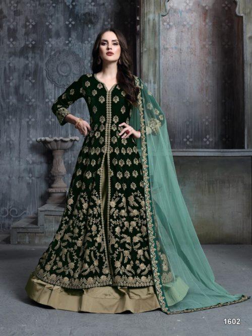 Embroidered Velvet Party Wear Dress In Dark Green