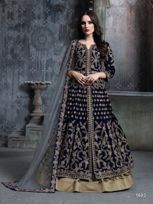 Embroidered Velvet Party Wear Dress In Dark Blue