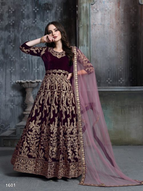 Embroidered Velvet Party Wear Dress In maroon