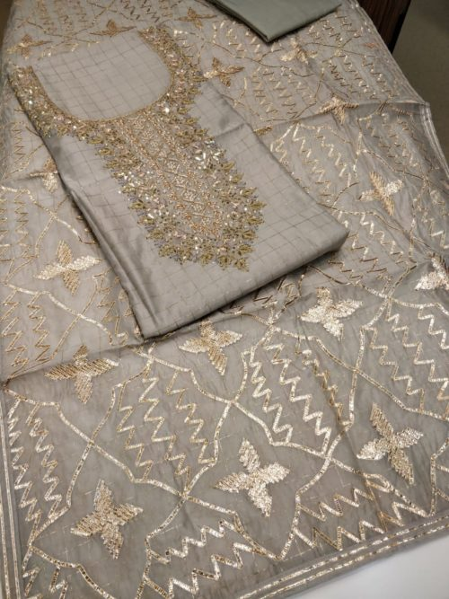 Self Embroidered Chanderi Salwar Suit with Gota, Pearl and Kundan Work