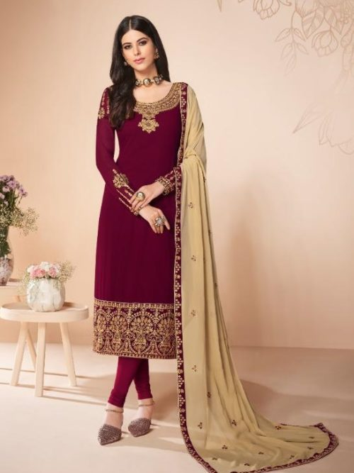 Aashirwad-Presents-Cross-Stitch-Real-Georgette-With-Embroidery-and-Work-Designer-Suit-7054