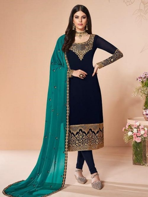 Aashirwad-Presents-Cross-Stitch-Real-Georgette-With-Embroidery-and-Work-Designer-Suit-7056